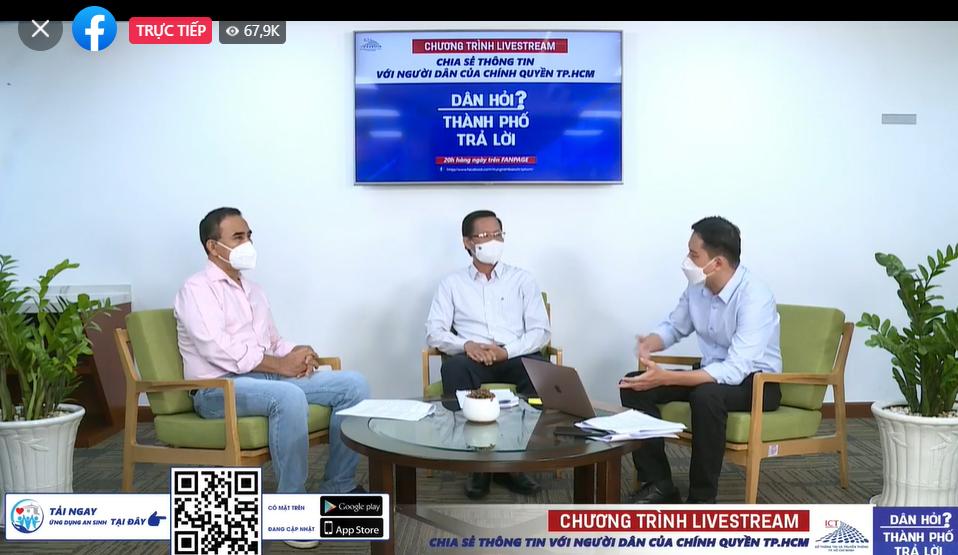 """Chủ tịch UBND TP Phan Văn Mãi livestream trong chương trình chương trình livestream """"Dân hỏi - Thành phố trả lời"""" vào 20 giờ ngày 6/9/2021"""