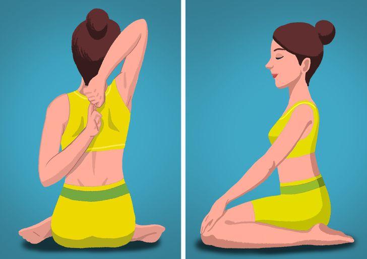 """Ngoài ra còn có một số tư thế yoga, như """"Gomukhasana"""" hoặc Tư thế mặt bò, giúp giảm căng cơ. Để thực hiện bài tập này, bạn chỉ cần uốn cong cánh tay về phía sau và để hai bàn tay chạm nhau ở sau lưng. Ngoài ra còn có bài tập """"Virasana"""", bạn sẽ ngồi trên gót chân trong khi giữ thẳng ngực và thân mình. Tư thế này giúp bạn thoải mái hơn khi quay lại bàn làm việc."""
