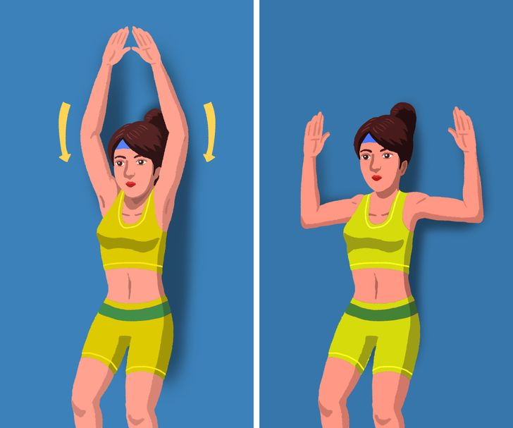 """""""Trượt tường"""" là một bài tập đơn giản giúp phục hồi cơ thể và giảm căng cơ ở cổ và vai. Bước đầu tiên là đứng dựa lưng vào tường, đầu gối hơi cong và hai tay duỗi qua đầu. Giữ mu bàn tay, cùi chỏ, vai và cột sống của bạn ép vào tường khi bạn trượt cánh tay xuống cho đến khi củi chỏ ngang vai. Sau đó, nâng cánh tay của bạn lên trở lại và lặp lại động tác này 10-12 lần."""