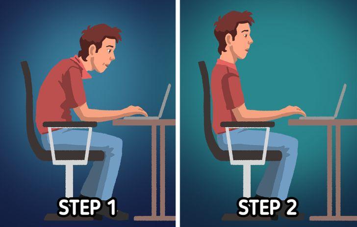 Bây giờ bạn đã tìm ra chiếc ghế phù hợp với mình, điều tiếp theo cần xem xét là làm thế nào để ngồi đúng cách. Bạn có thể bắt đầu bằng cách đặt mông sát vào lưng ghế, cổ và vai hướng về phía trước. Sau đó, từ từ kéo thẳng cột sống của bạn bằng cách kéo đầu và vai lên, đồng thời đẩy lưng dưới về phía trước. Giữ tư thế này trong vài giây trước khi thả lỏng ra một chút, sau đó quay người về phía sau cho đến khi bạn có thể tựa vào lưng ghế.