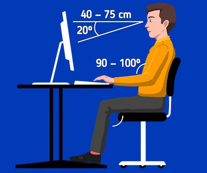 Tư thế lý tưởng khi ngồi là khuỷu tay tạo một góc 90°và đầu gối cũng như thế. Bạn cũng có thể ngã lưng ra phía sau một chút để tạo cảm giác thoải mái hơn. Màn hình máy tính cần được để ngang tầm mắt và giữ một khoảng cách nhất định so với mắt của chúng ta giúp tránh làm mỏi cổ và mắt. Bàn phím cũng nên được đặt cách mép bàn khoảng 4 đến 6inch để cổ tay và bàn tay có không gian vận động thoải mái.