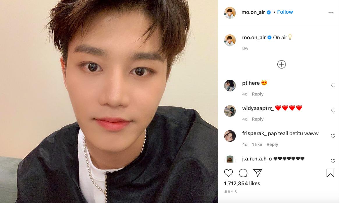 Moon Tae-il, anh cả nhóm nhạc NCT hiện được tổ chức Kỷ lục Guinnness Thế giới ghi nhận là ngôi sao đạt 1 triệu người theo dõi nhanh nhất trên Instagram, chỉ sau 45 phút mở tài khoản vào hôm 6/7. Nam ca sĩ mong muốn thông qua trang cá nhân này có thể tương tác nhiều hơn với khán giả. Bài đăng đầu tiên của anh là một bức ảnh tự sướng.