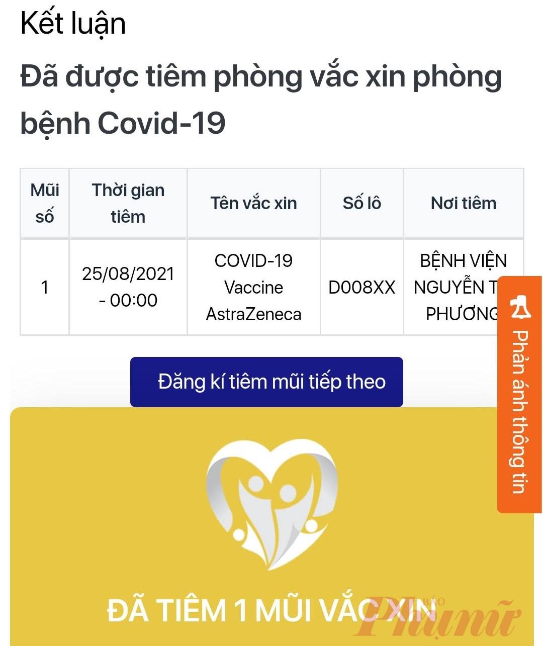 Dù người viết đã tiêm đủ 2 mũi vào ngày 21/6 và 25/8, thông tin trên Sổ Sức khỏe điện tử lẫn Cổng thông tin tiêm chủng COVID-19 vẫn chỉ thể hiện 1 mũi tiêm (Ảnh chụp màn hình)