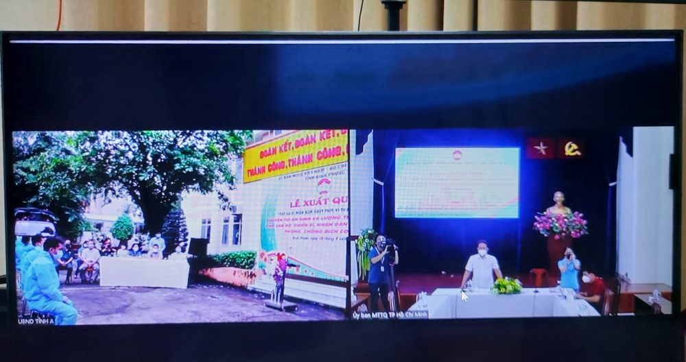 Lễ xuất quân chuyển 5.000 túi an sinh từ nhân dân tỉnh Bình Phước gửi tặng nhân dân TPHCM được tổ chức dưới hình thức trực tuyến.