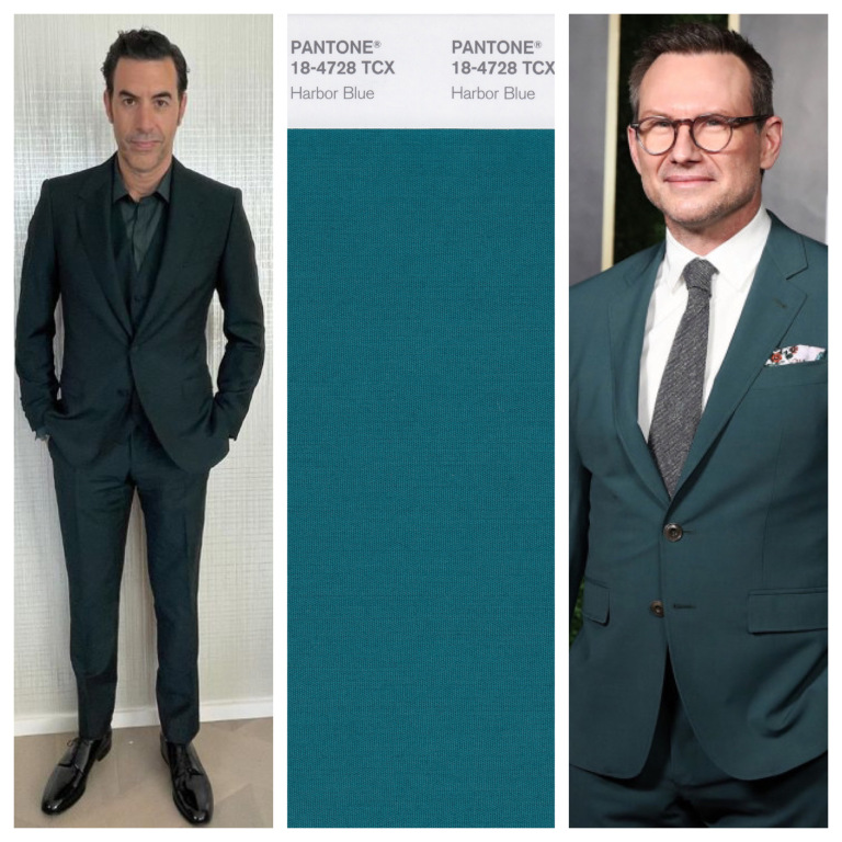 Sacha Baron và Christian Slater lịch lãm trong bộ vest xanh nước biển.