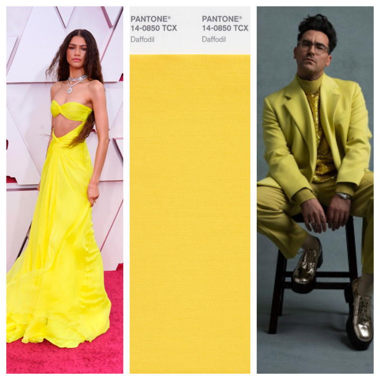 Zendaya và Dan Levy trẻ trung với gam màu vàng nổi bật.