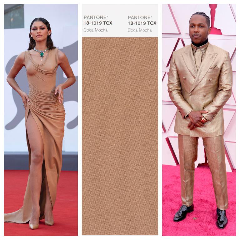 Zendaya và Leslie Odom Jr trong trang phục tông màu nâu mocha.