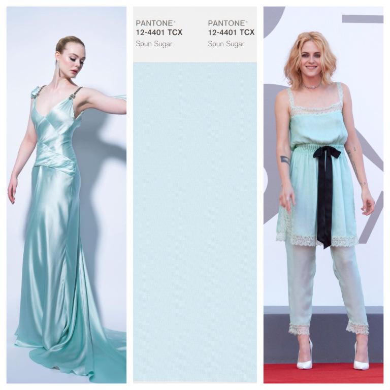Elle Fanning và Kristen Stewart trong trang phục màu Spun Sugar (xanh ngọc).