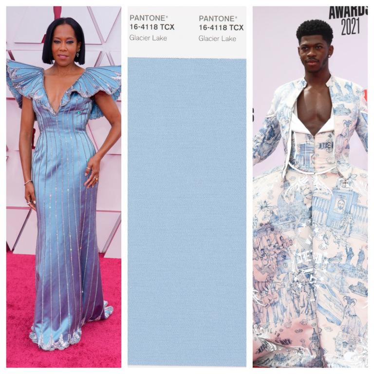 Regina King và Lil Nas X trong trang phục xanh da trời
