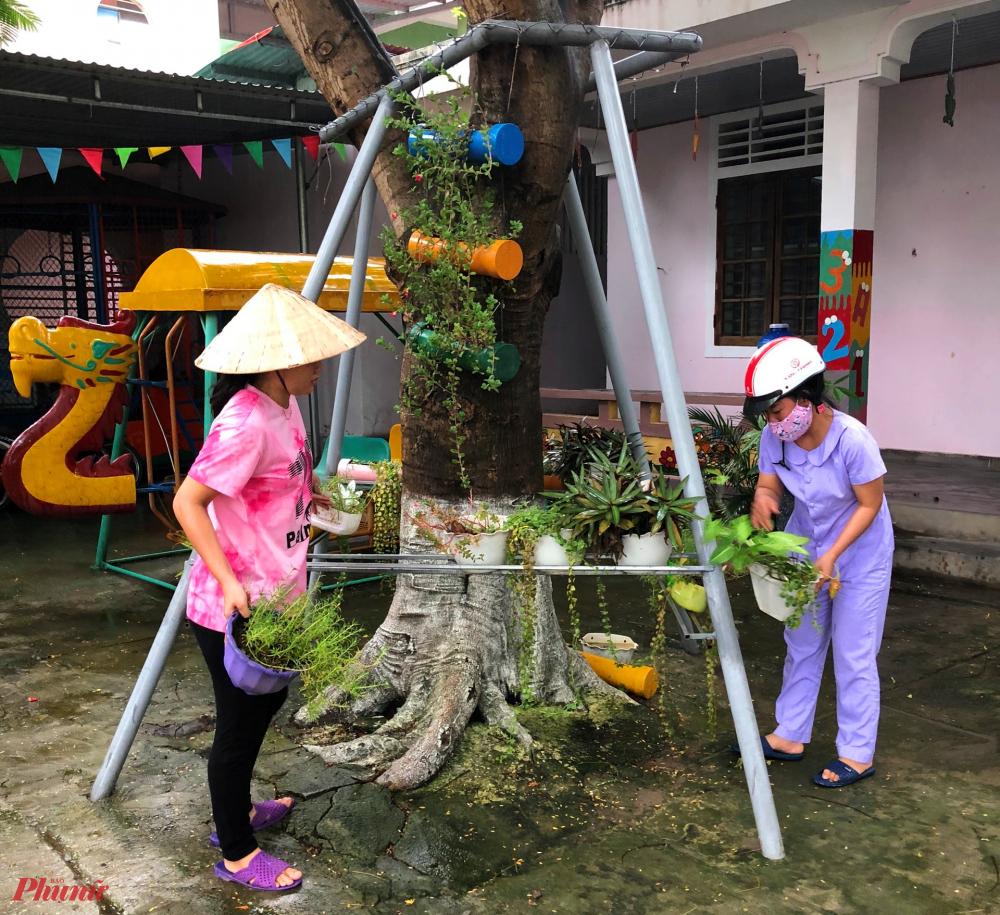Từng nhánh cây, chậu hoa được các cô nâng niu cất giữ cẩn thận tránh khi bão đổ bộ vào dẫn đến va đập, hư hại