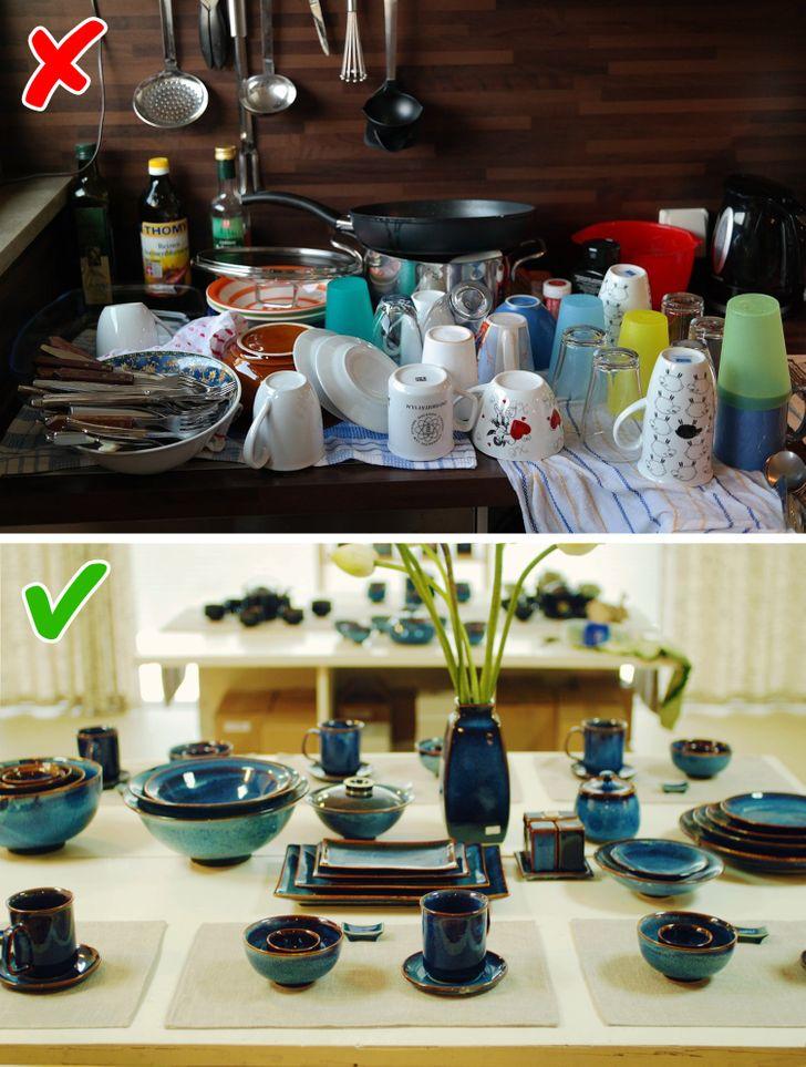 Bạn có thể có đồ nội thất nhà bếp đắt tiền và tinh vi cũng như các thiết bị và đồ dùng hiện đại, nhưng ấn tượng về tất cả sự sang trọng này có thể bị hủy hoại khi có những món ăn cũ không khớp hoặc những món đồ không ăn khớp với nhau. Người ta biết rằng thiết lập bàn ăn là một phần quan trọng trong trang trí nhà bếp của bạn, đó là lý do tại sao các món ăn phải được chọn theo cùng một phong cách.