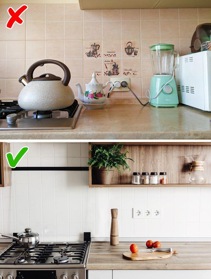 Các ổ cắm không phù hợp với nội thất theo kiểu dáng và màu sắc (và thường được lắp đặt một cách gian dối) trông giống như một khung ảnh dựa vào tường không thể duỗi thẳng được. Chúng có thể làm hỏng ấn tượng tổng thể của nhà bếp với cái nhìn của chúng. Đó là lý do tại sao bạn nên lựa chọn những ổ cắm phù hợp với màu sắc của gạch ốp bếp để không làm chúng nổi bật so với tổng thể nội thất. Cài đặt các ổ cắm ẩn có thể là một giải pháp thậm chí còn tốt hơn.