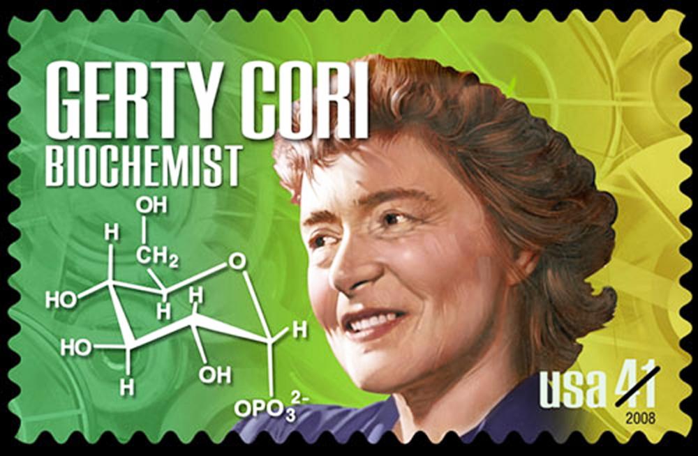 Hình ảnh bà Gerty Cori trên con tem của Mỹ