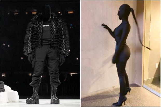 Bên trái là chồng cũ của Kim, Kanye West tại một sự kiện. Bên phải là nữ ca sĩ trong trang phục che kín mặt.