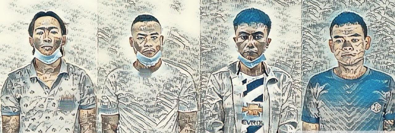 Nhóm đối tượng đã bị công an Quảng Bình bắt giữ. Ảnh:  Công an Quảng Bình