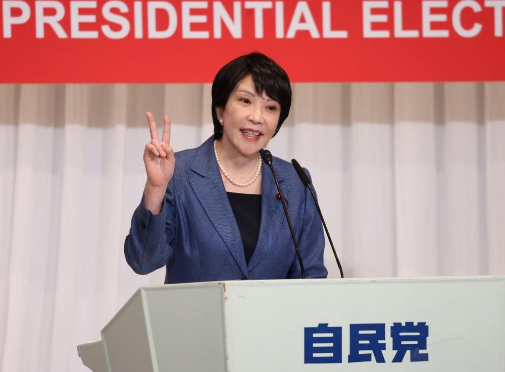 Ứng cử viên chủ tịch LDP Sanae Takaichi - Ảnh: Bloomberg
