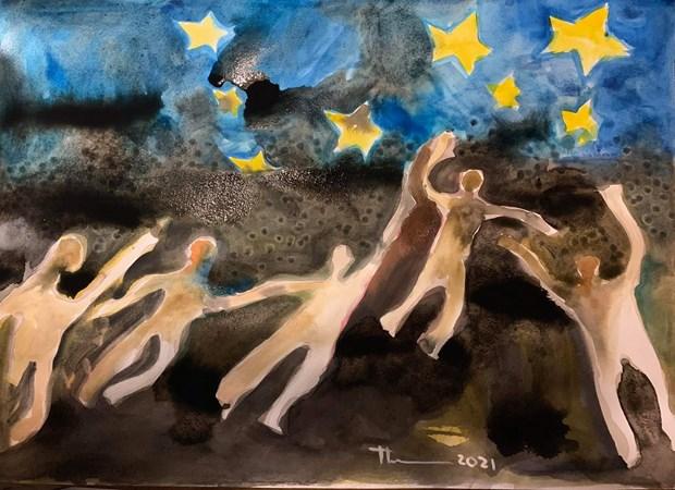 Bức tranh vẽ bằng màu nước của nhà văn Nguyễn Quang Thiều
