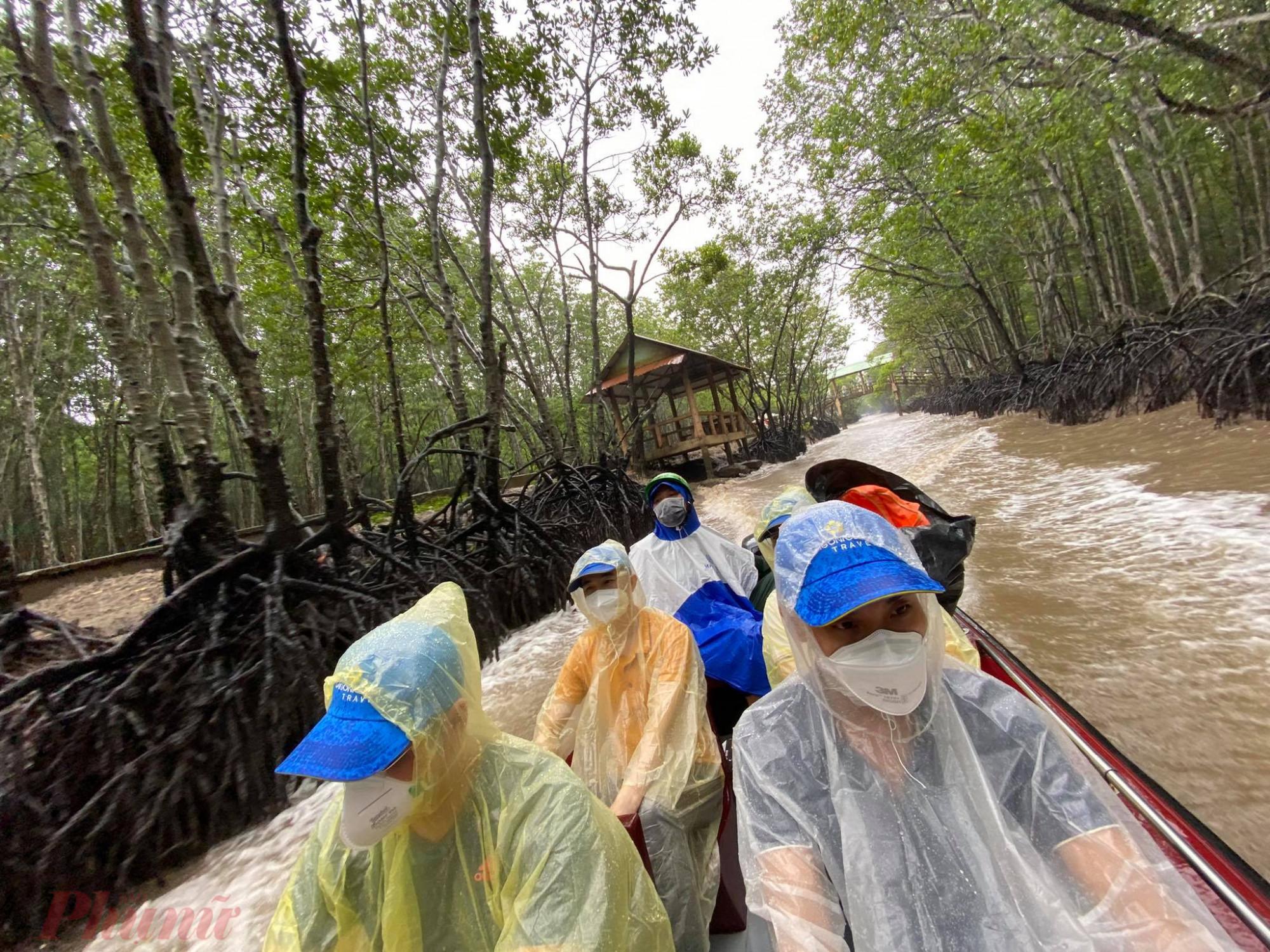 Cơn mưa nặng hạt trong buổi sáng ngày 19/9 ảnh hưởng ít nhiều đến chương trình tham quan Cần Giờ