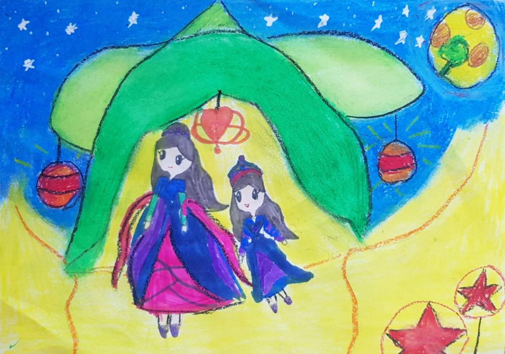 Quá nhiều sự dễ thương trong bức tranh của bé Bùi Hà Vy (6 tuổi) với ước mơ được gặp chị Hằng và cùng chị Hằng bay khắp mọi nơi để vui tết Trung thu