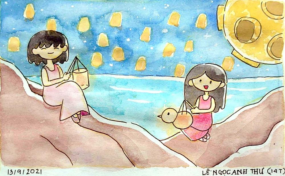 Hàng ngàn chiếc đèn trên bầu trời đêm như những ngôi sao ước mơ đang bay cao trong bức tranh Chúng em vui Trung thu bên bờ biển của bé Lê Ngọc Anh Thư (14 tuổi)
