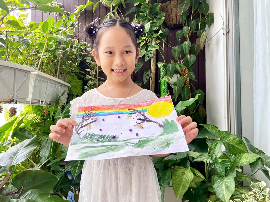 """Bức tranh Nhớ Trung thu của """"họa sĩ nhí"""" Uyên Khanh (6 tuổi)"""