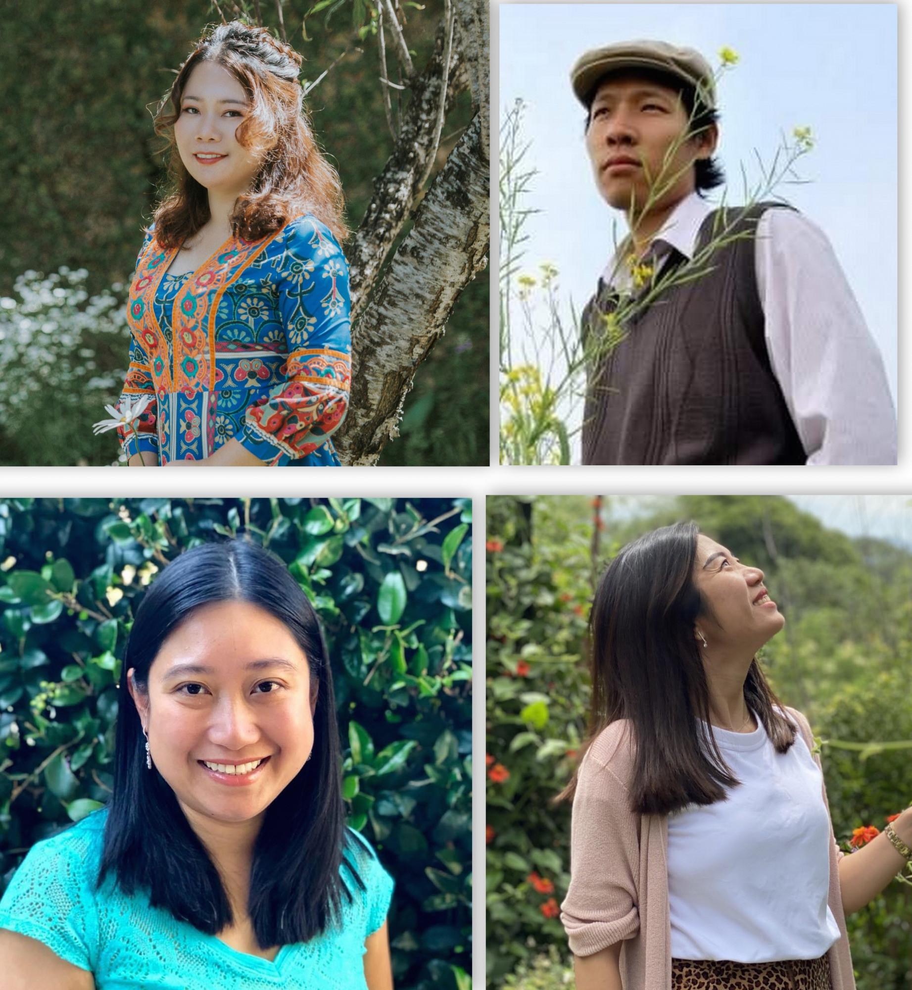"""Những gương mặt """"chủ xị"""" của dự án BSK (từ trái qua phải, trên xuống dưới: Nguyệt Ca, Vũ Chung, Đinh Thu Hồng, Nguyễn Thoại Tú Chi)"""