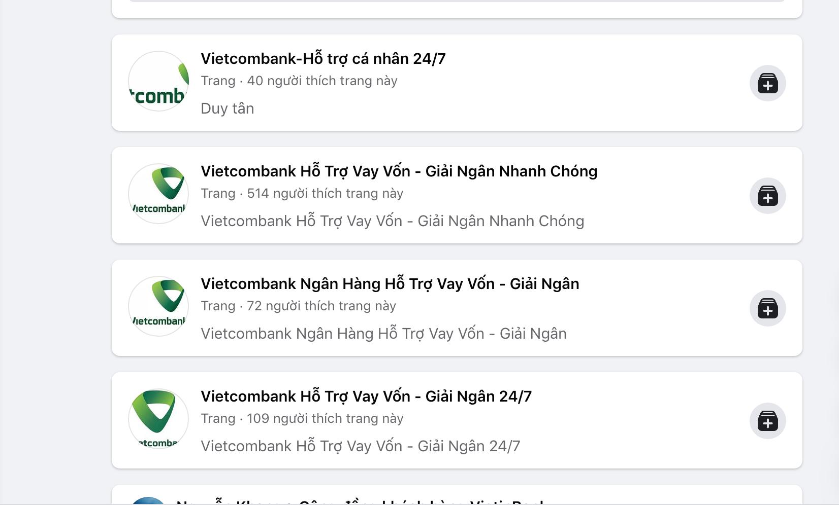Xuất hiện hàng loạt Fanpage giả mạo Vietcombank mời chào vay vốn