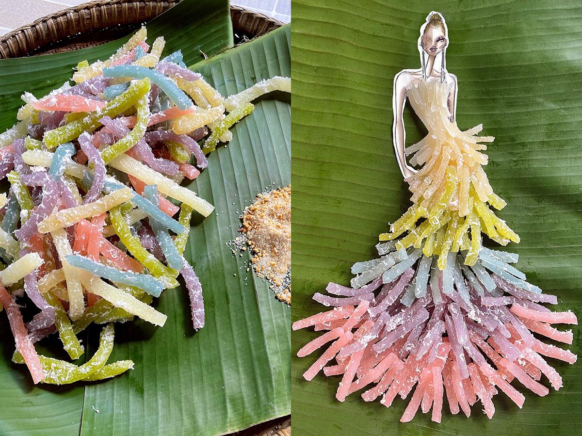 Bánh tầm khoai mì: Chiếc váy dạ hội 5 tầng với 5 màu sắc được tạo nên từ những sợi khoai mì dẻo dai với điểm nhấn là phần ombre chuyển từ đậm sang nhạt tạo nên những sợi tua rua mềm mại. Bên cạnh đó, những sợi dừa nạo màu trắng tạo thành sợi lông vũ như điểm nhấn tạo nên sự mềm mại, uyển chuyển và nữ tính cho các nàng công chúa.p các nàng công chúa lộng lẫy hơn khi bước ra từ những câu chuyện cổ tích.