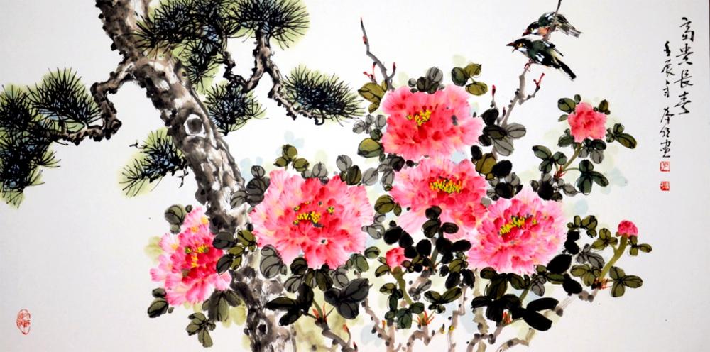 Tác phẩm  Hoa mẫu đơn của Trương Hán Minh - đây là loài hoa mà ông dụng công vẽ nhiều và thành  công nhất