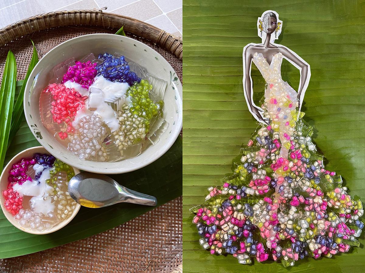 Sương sa hột lựu: Độ trong và dẻo cùng như màu sắc rực rỡ của nguyên liệu góp phần giúp chiếc váy trở nên sang trọng và gợi cảm. Điểm nhấn thú vị nhất ở chiếc váy này chính là màu sắc từ rau củ đã giúp chiếc váy kể một câu chuyện của thiên nhiên ở đó có mây trời có những ngọn cỏ non và những đó hoa tuyệt đẹp.