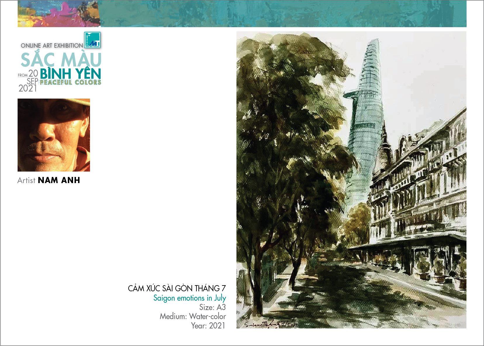 Tranh màu nước Cảm xúc Sài Gòn tháng 7 của họa sĩ Nam Anh
