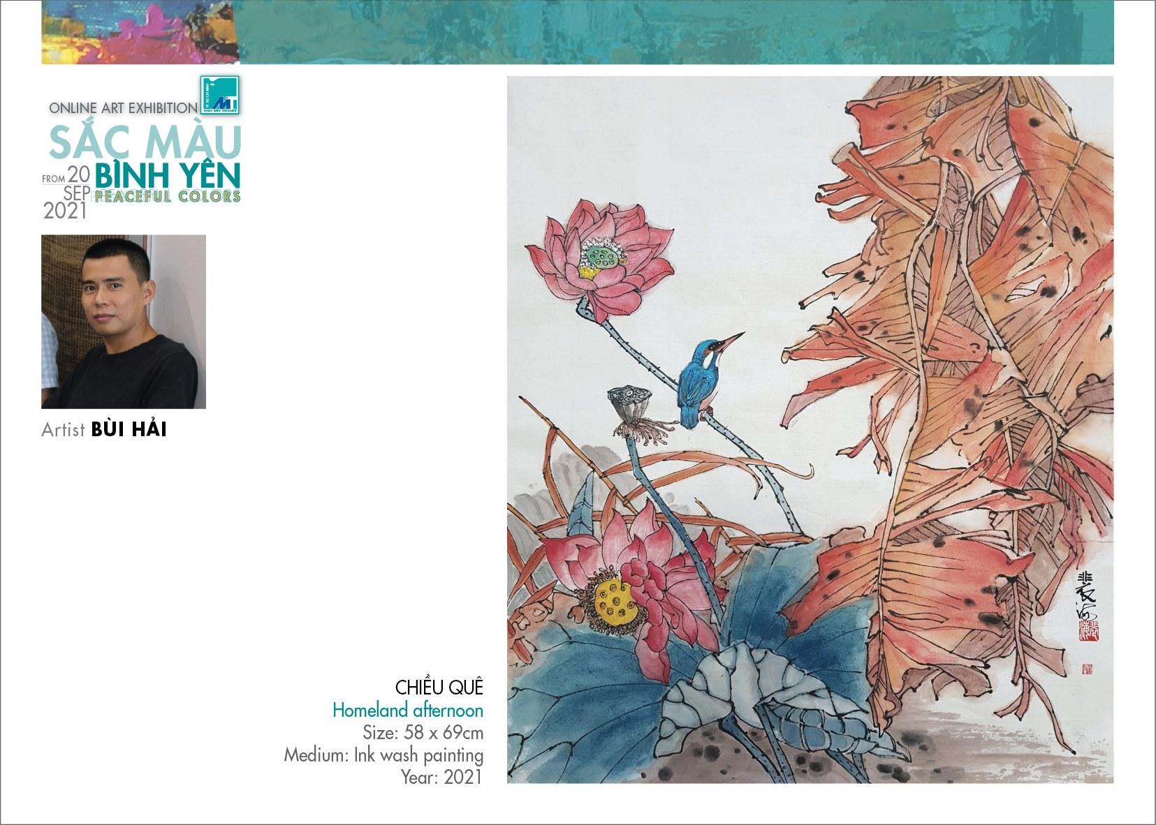 Tranh thủy mặc Chiều quê của họa sĩ người Hoa Bùi Hải