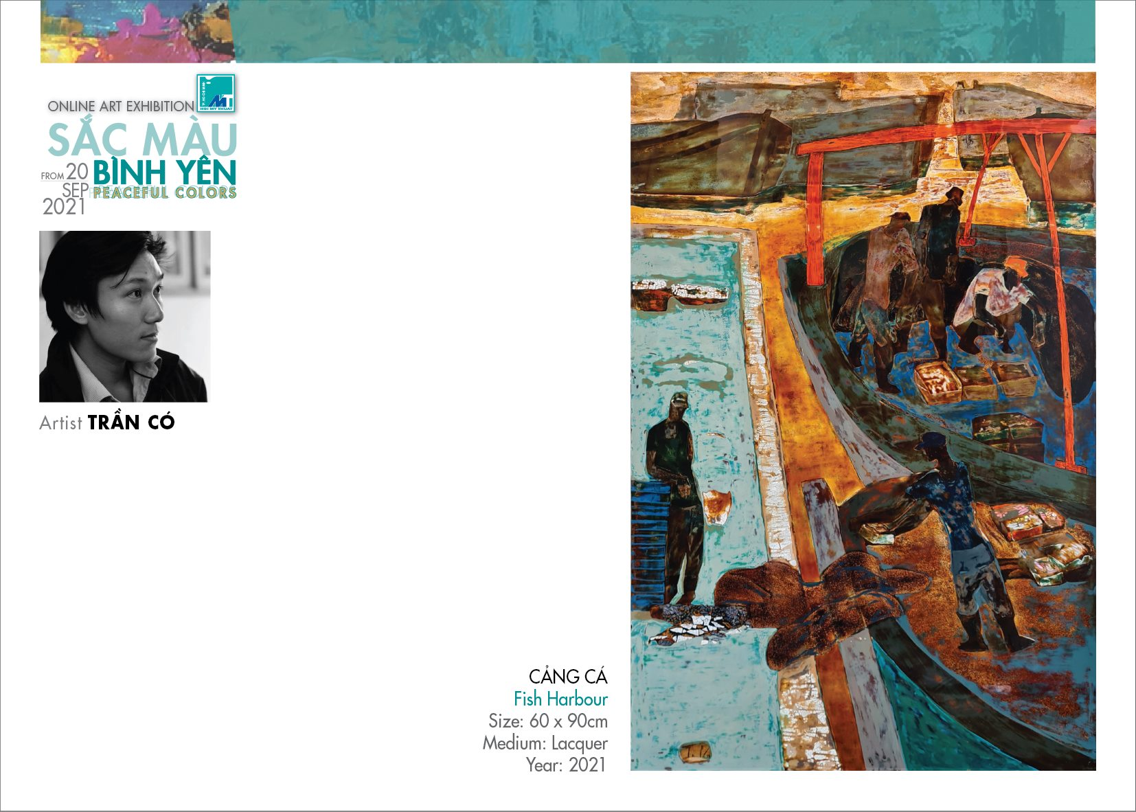 Tranh sơn mài Cảng cá của họa sĩ Trần Có