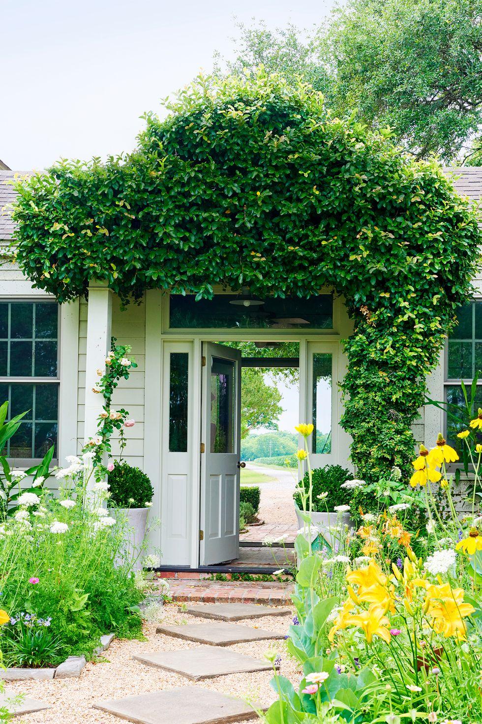 Xem xét một Breezeway Nhìn từ bên ngoài, hàng rào xanh mướt này - giống như một căn phòng cắm hoa và được thiết kế bởi Rebecca Vizard - gây ấn tượng mạnh mẽ đầu tiên và những bông hoa trong vườn nổi bật trên con đường lát gạch và sỏi dẫn đến cửa trước. Để thực hiện điều này trong nhà riêng của bạn, hãy giữ nó ở mặt đất và chọn một không gian đi bộ có mái che một phần thay vì một mái hiên trên cao.