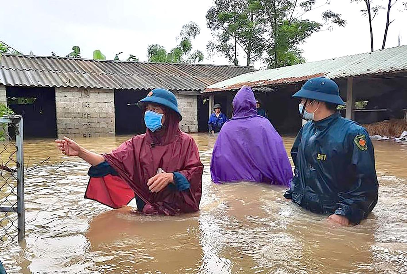 Nhiều nơi ở huyện Quỳnh Lưu bị ngập sâu