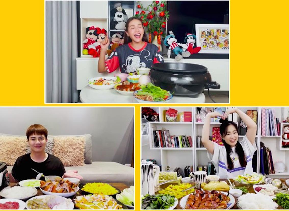 Diễn viên Khả Như cùng Duy Khánh và ca sĩ Lương Bích Hữu trong  chương trình Thực khách vui vẻ