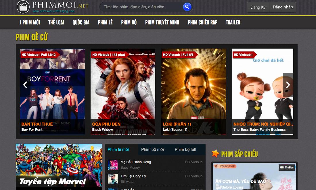 Giao diện của trang iphimmoi.net hoàn toàn giống với nền tảng phimmoi.