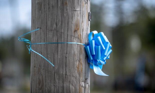 Những dải ruy băng xanh tưởng nhớ Petito đang được rải khắp quê hương cô ở Blue Point, New York. Ảnh: AP