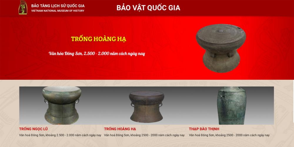 Triển lãm trực tuyến Bảo vật quốc gia của Bảo tàng Lịch sử Việt Nam