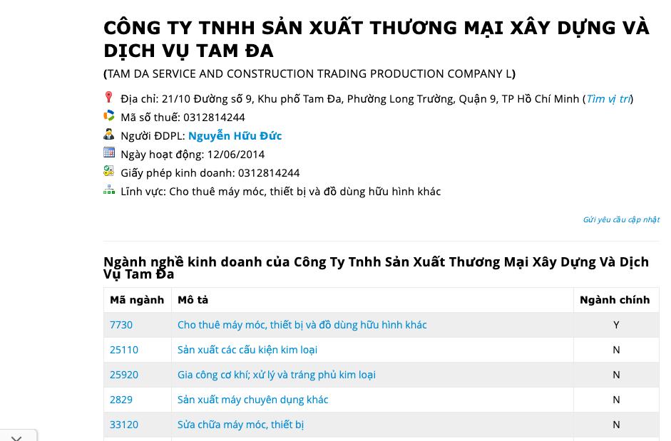 Công an đang truy tìm Nguyễn Hữu Đức, Giám đốc Công ty Tam Đa trong vụ án hình sự Lạm dụng tín nhiệm chiếm đoạt tài sản - Ảnh chụp màn hình công ty này.