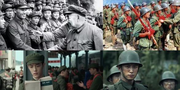 Hình ảnh so sánh sự tương đồng của trang phục trong phim (ảnh dưới) và trang phục thực tế của quân đội Trung Quốc trong giai đoạn chiến tranh biên giới phía Bắc 1979 (ảnh trên)