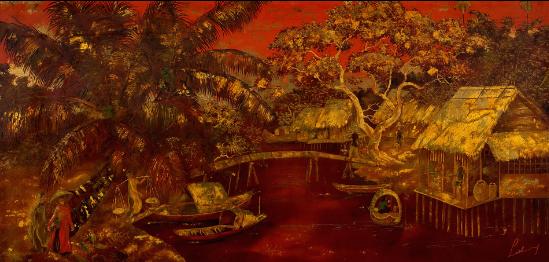 Bức Scène quotidienne au bord de l'eau (Đời sống trên dòng sông, sơn mài, 59,5 x 122,5cm), của hoạ sĩ Lê Thy.