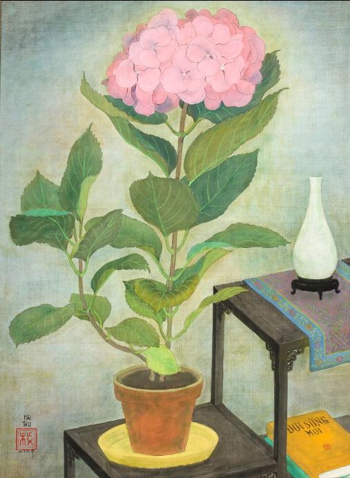 Bức Composition à l'hortensia (Hoa cẩm tú cầu, mực và màu trên lụa, 60,5 x 45,5cm, 1955) của Mai Trung Thứ.