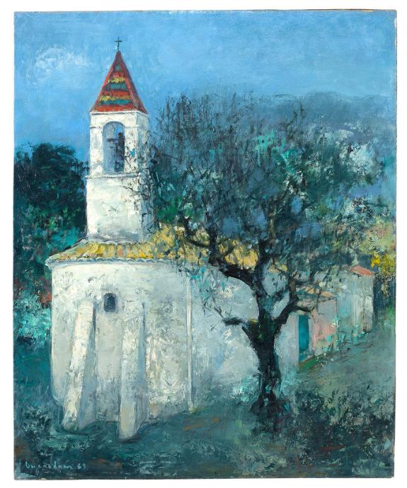 Bức Chapelle (Nhà nguyện, sơn dầu trên vải, 73 x 60cm, 1963) của Vũ Cao Đàm.