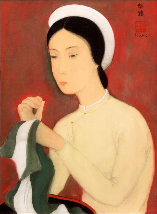 Bức La couture (May vá, mực và màu trên lụa, 30,5 x 23 cm - 12 x 9)