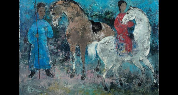 Bức Cavalière (Người đàn bà cưỡi ngựa, dầu trên vải, 60 x 81,5cm, 1963) của Vũ Cao Đàm.