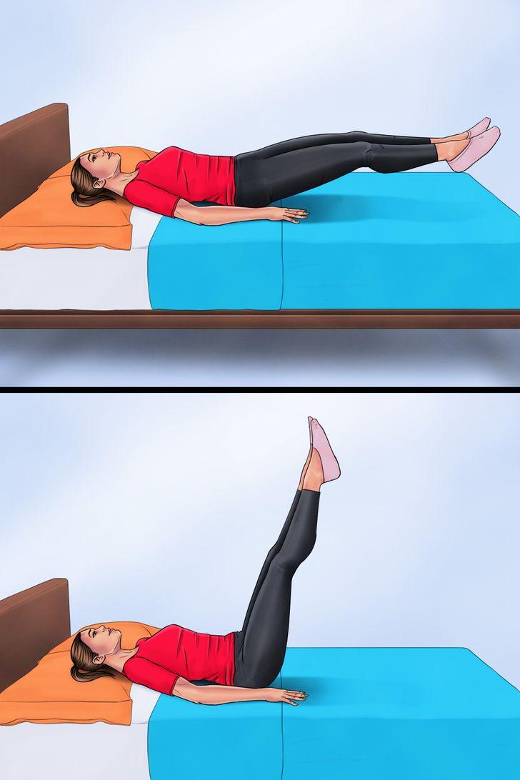 1. Nâng chân Nằm ngửa, hai tay đặt ngang hông và duỗi thẳng chân. Nâng cả hai chân của bạn lên một góc 90 độ, sau đó từ từ hạ xuống. Thực hiện 2 hiệp, mỗi hiệp 10 lần. Bài tập sẽ tác động trực tiếp đến cơ bụng dưới giúp hạn chế tình trang tích tụ mỡ ở vùng này vì phải ngồi quá lâu trên bàn làm việc.