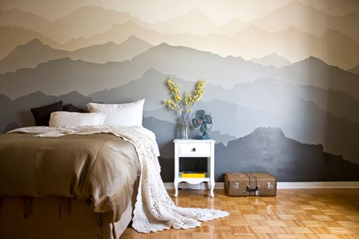 Một căn phòng như vậy chắc chắn sẽ khiến bạn mơ ước về việc vươn tới bầu trời và đặt ra những mục tiêu mới. Bạn không cần phải là một nghệ sĩ tuyệt vời để  tạo ra một cảnh núi tuyệt đẹp như thế này.
