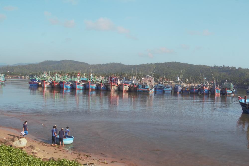Khu neo đậu tàu thuyền tại cảng Tam Quan (TX Hoài Nhơn, tỉnh Bình Định)
