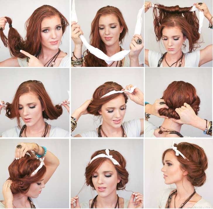 Kiểu tóc lãng mạn với khăn trùm đầu